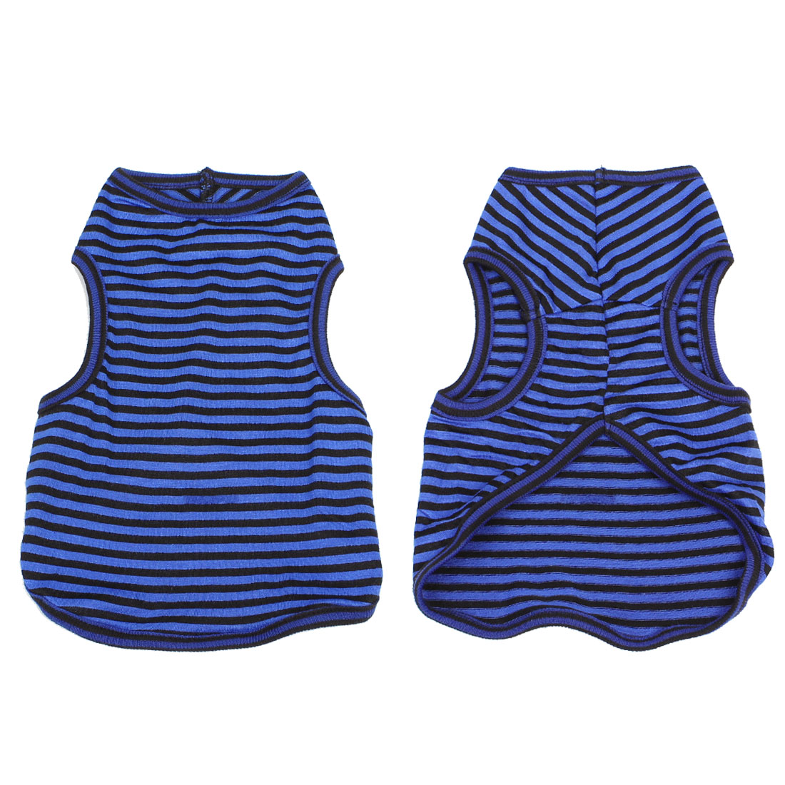 Summer Puppy Pet Yorkie Dog Tank Top Striped Tee Shirt Apparel Blue Black L
