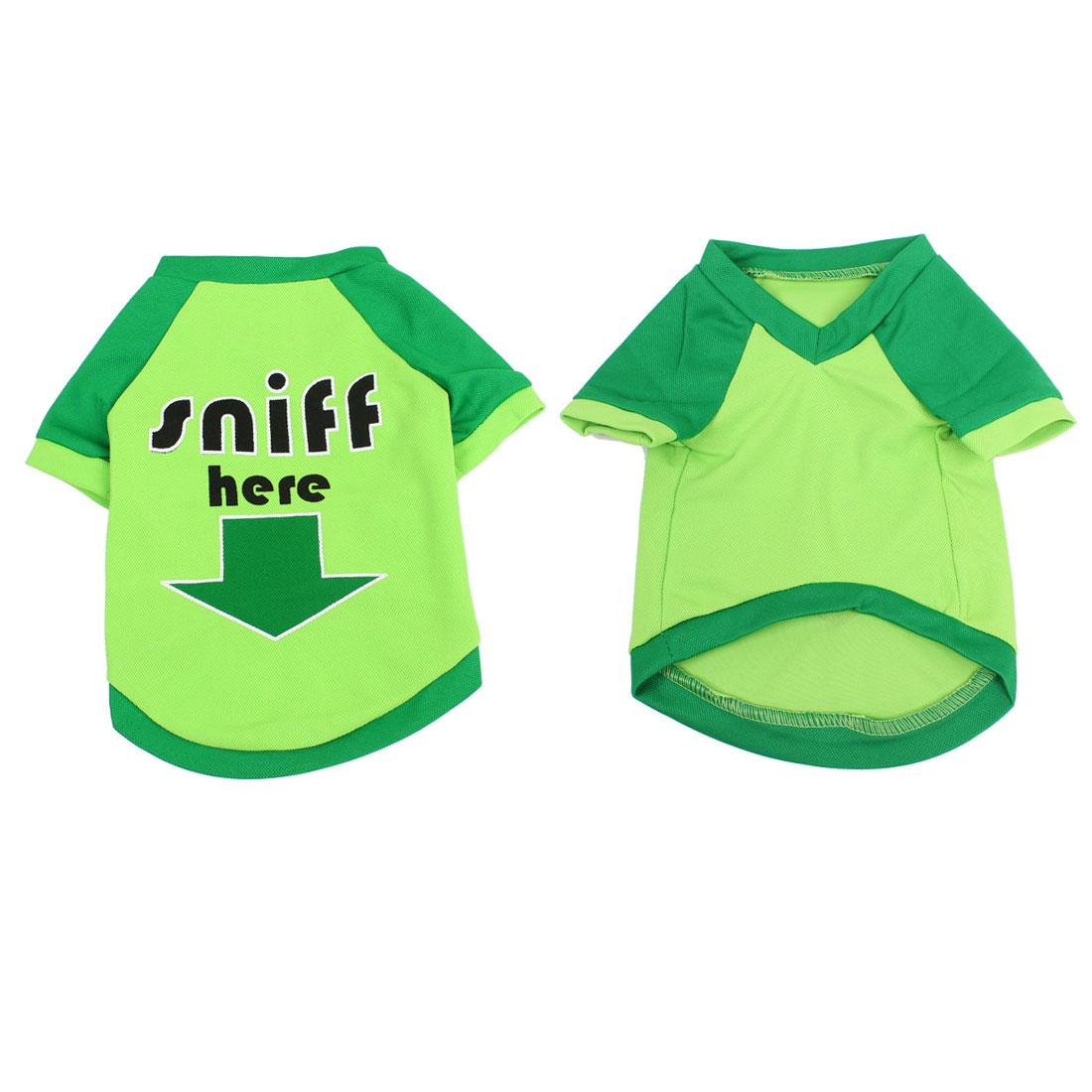 Arrow Pattern Dog Chihuaha Summer Short Sleeves Tee Shirt Clothes Green M