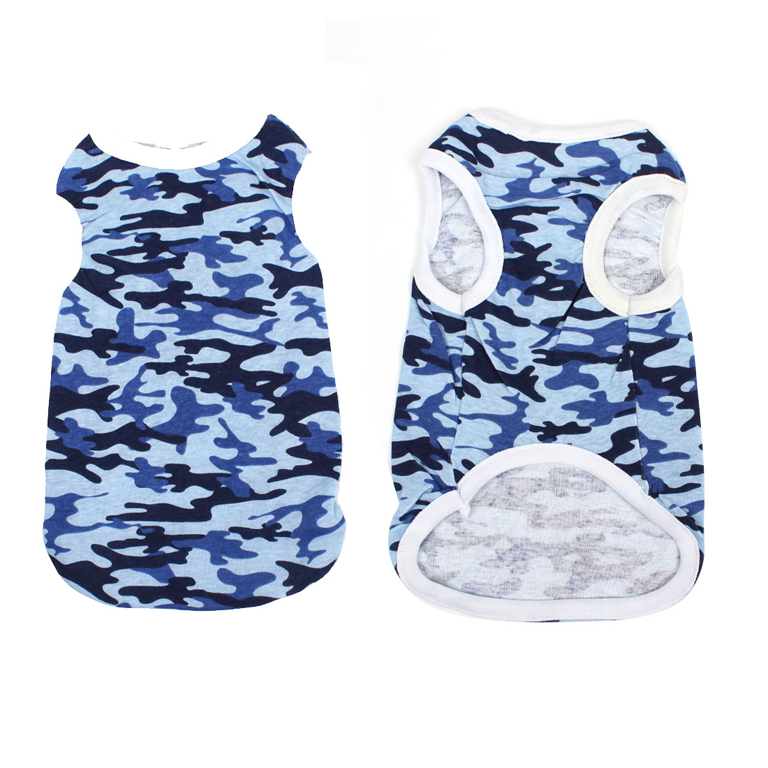 Puppy Pet Dog Yorkie Tank Top Camouflage Tee Shirt Apparel White Blue Size 16