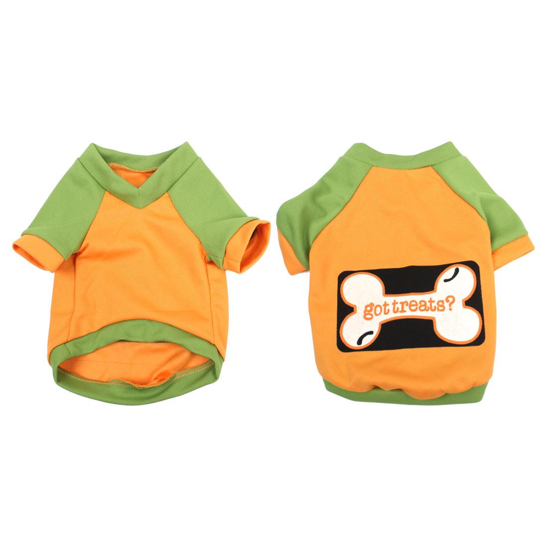 Summer Puppy Pet Yorkie Dog V Neck Bone Print Tee Shirt Apparel Orange Green L