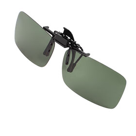 Polarized Rimless Rectangle Dark Green Lens Flip Up Clip on Sunglasses Eyeglass