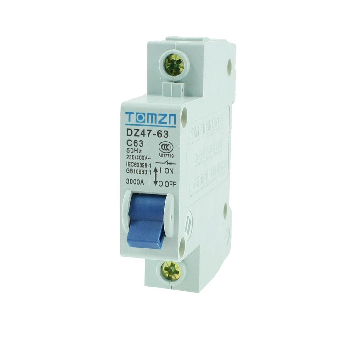 230/400VAC Single Pole 1P Overload Protection MCB Mini Circuit Breaker
