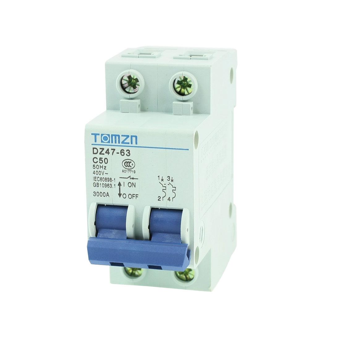 AC 400V 50A 2 Poles 2P Overload Protection MCB Mini Circuit Breaker