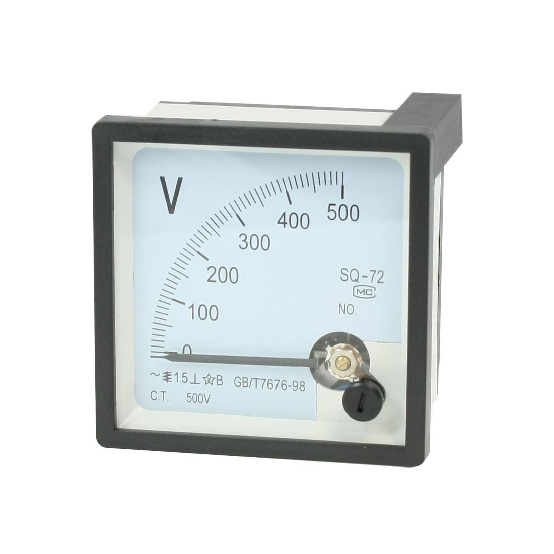 AC 0-500V Fine Tuning Square Plastic Case Analog Voltage Meter Voltmeter