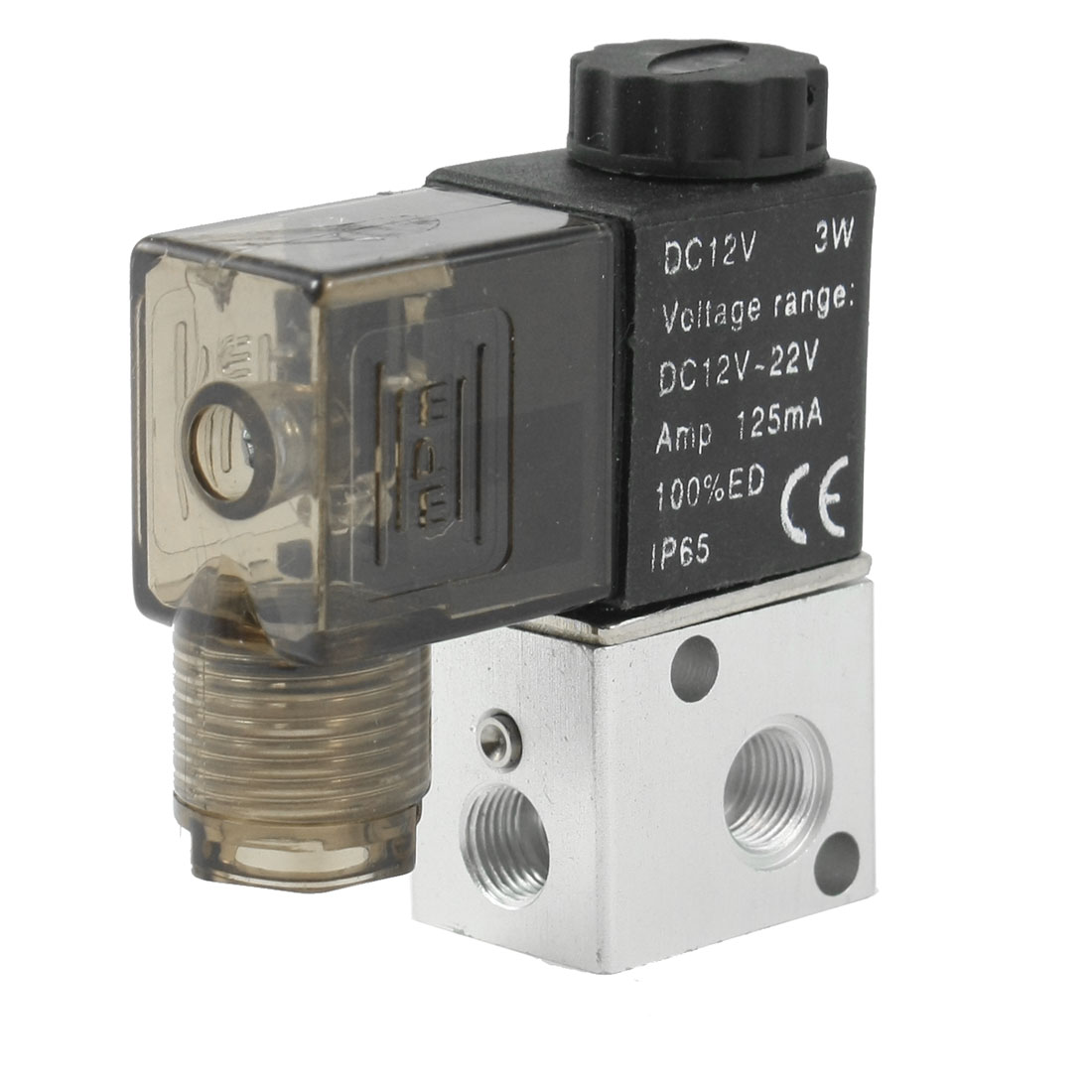 "DC 12V 125mA 3W 1/8""PT Thread 2 Position 3 Way Pneumatic Electric Solenoid Valve"