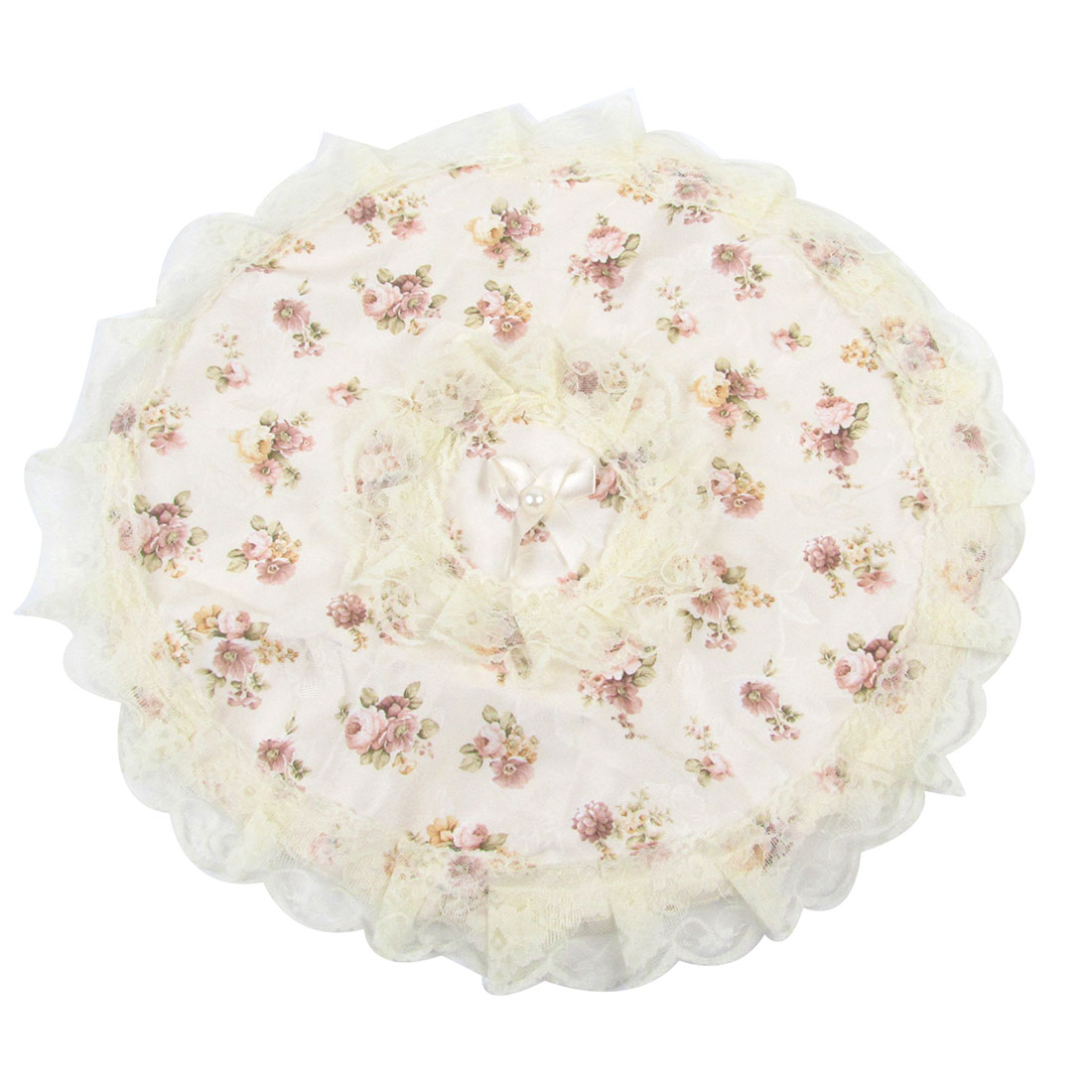 Colored Flower Pattern Round Fan Anti-dust Protective Guard Cover Beige