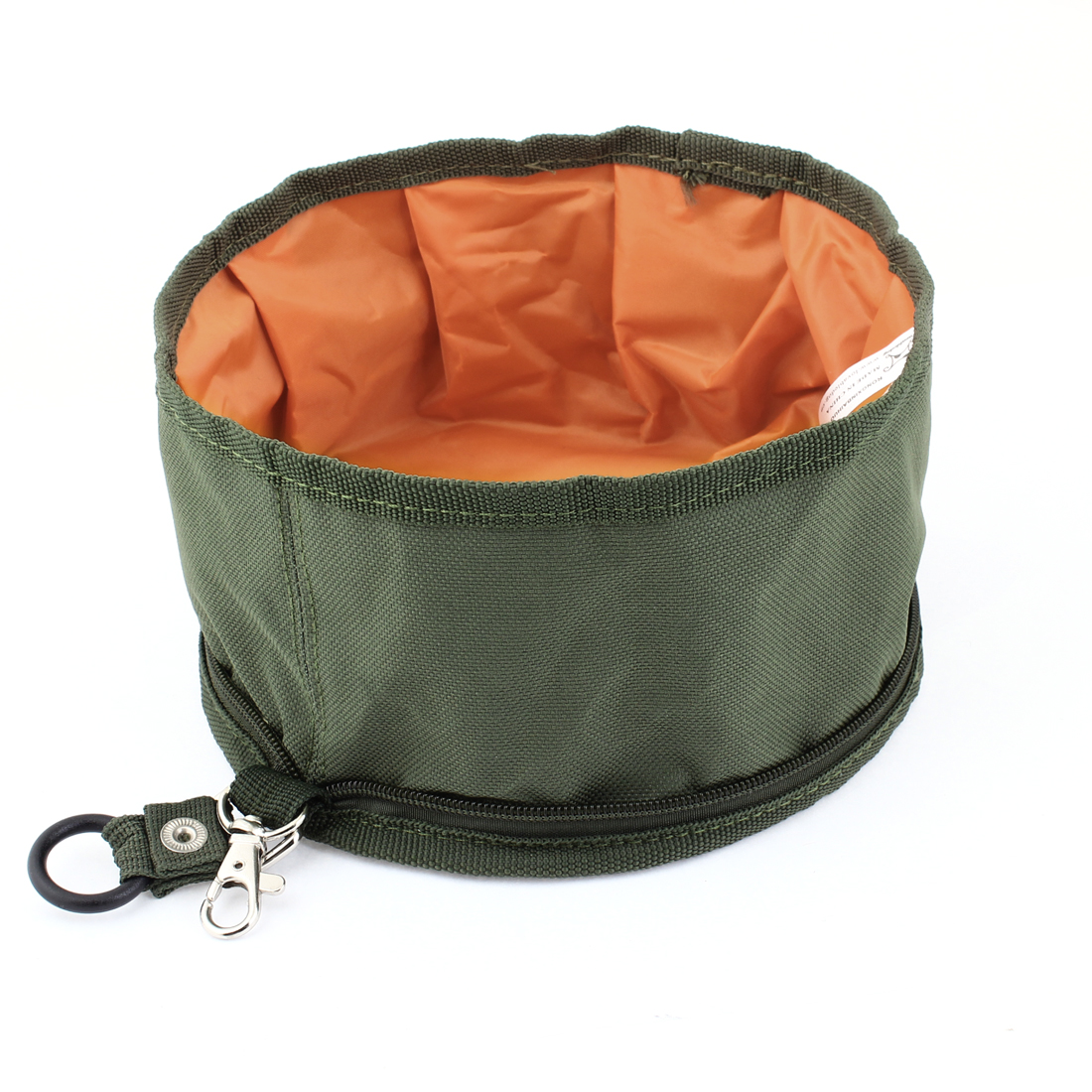 Pet Dog Cat Round Shaped Travel Foldable Zippered Protable Food Bowl Army Green Orange
