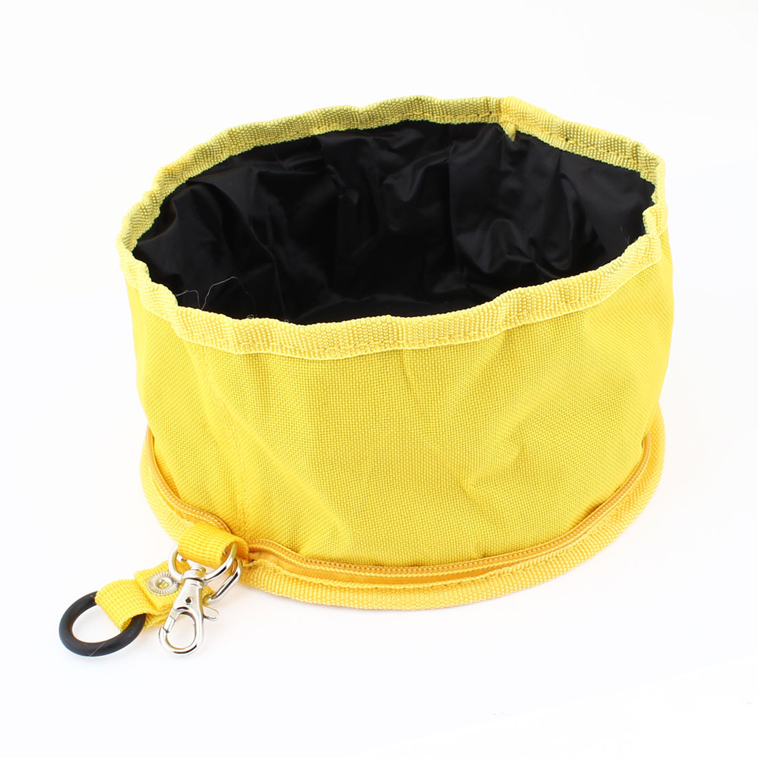 Travel Foldable Protable Yellow Black Zippered Pet Dog Cat Food Bowl
