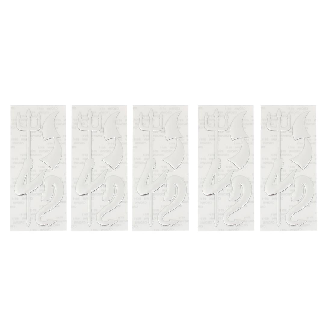 Auto Car Silver Tone PVC 3D Devil Tail Fork Pattern Decorative Stickers 5 Pcs