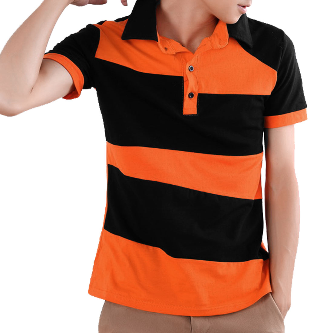 Men Short Sleeve Half Button Front Orange Color Blocking Polo Top M