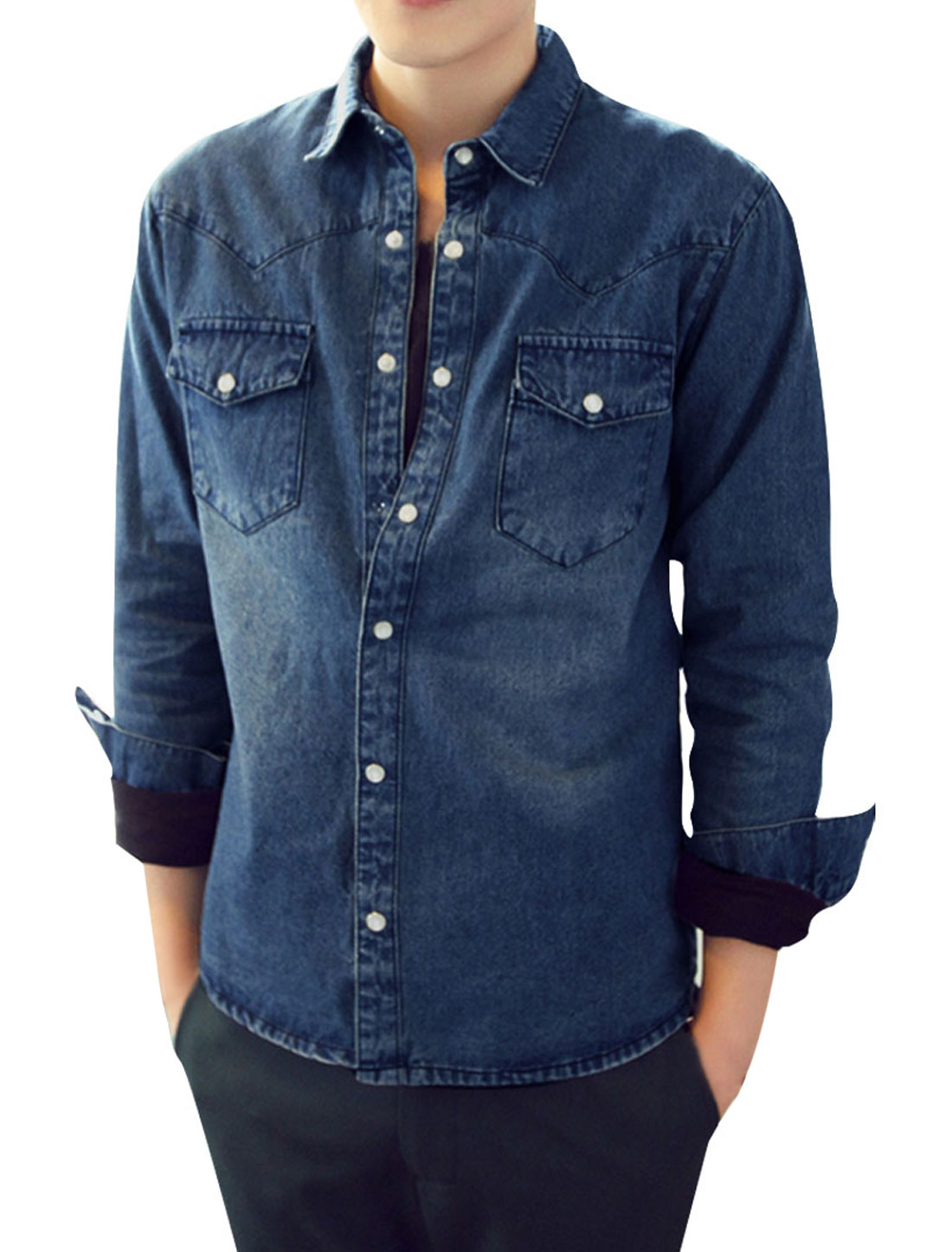 Men Long Sleeve Pockets Front Button Up Blue Jean Shirt M