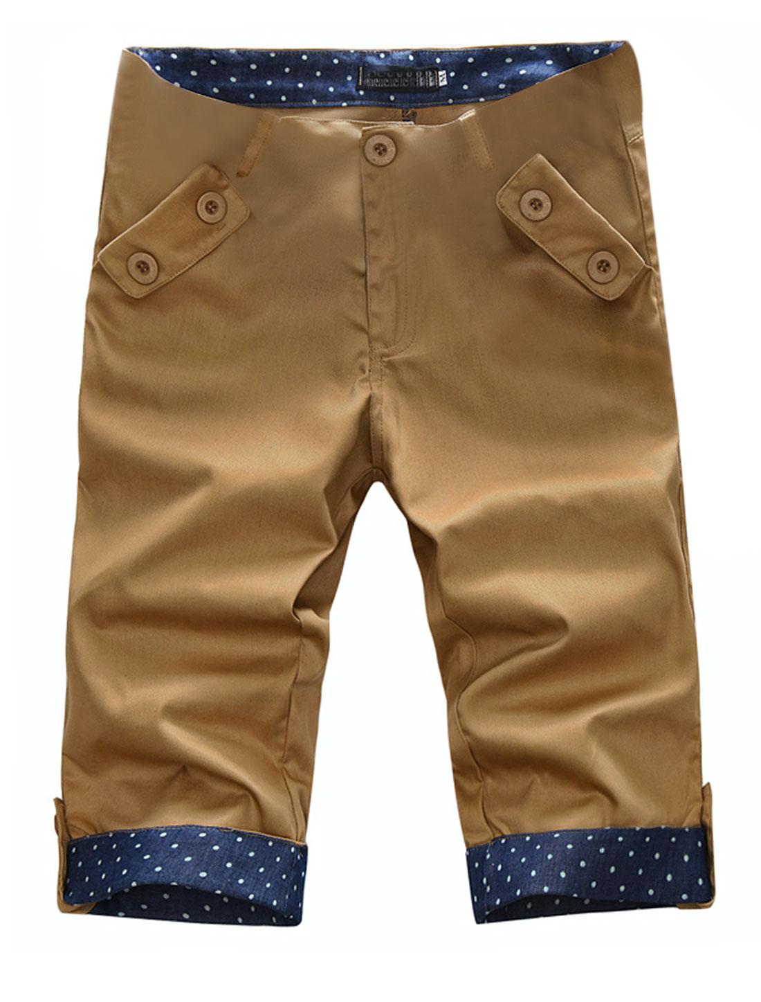 Men Waistband Loop Zip Closure Zip Up Hip Pocket Shorts Khaki W32