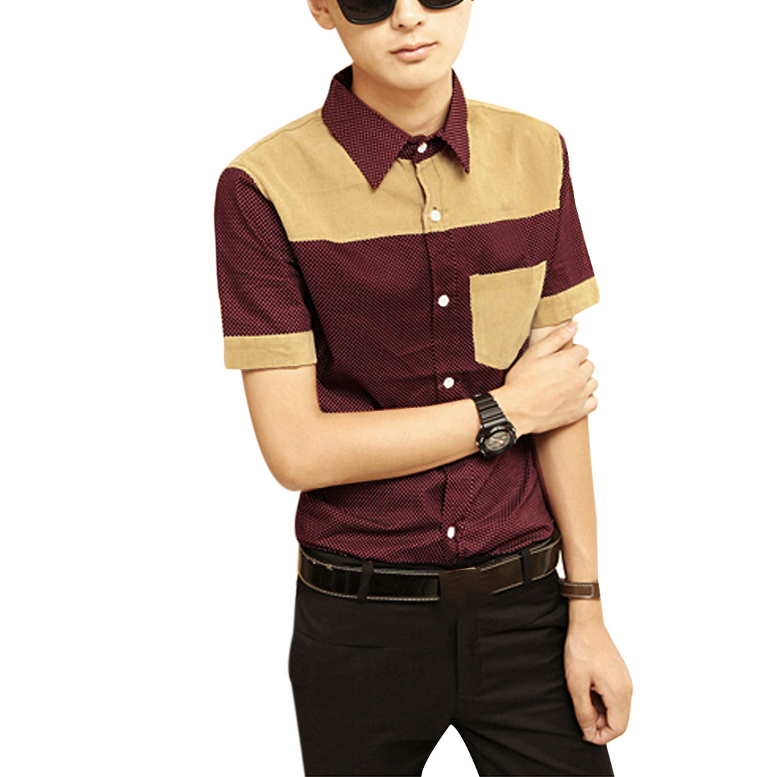 Men Chic Polka-Dotted Prints Corduroy Splice Burgundy Casual Shirt M