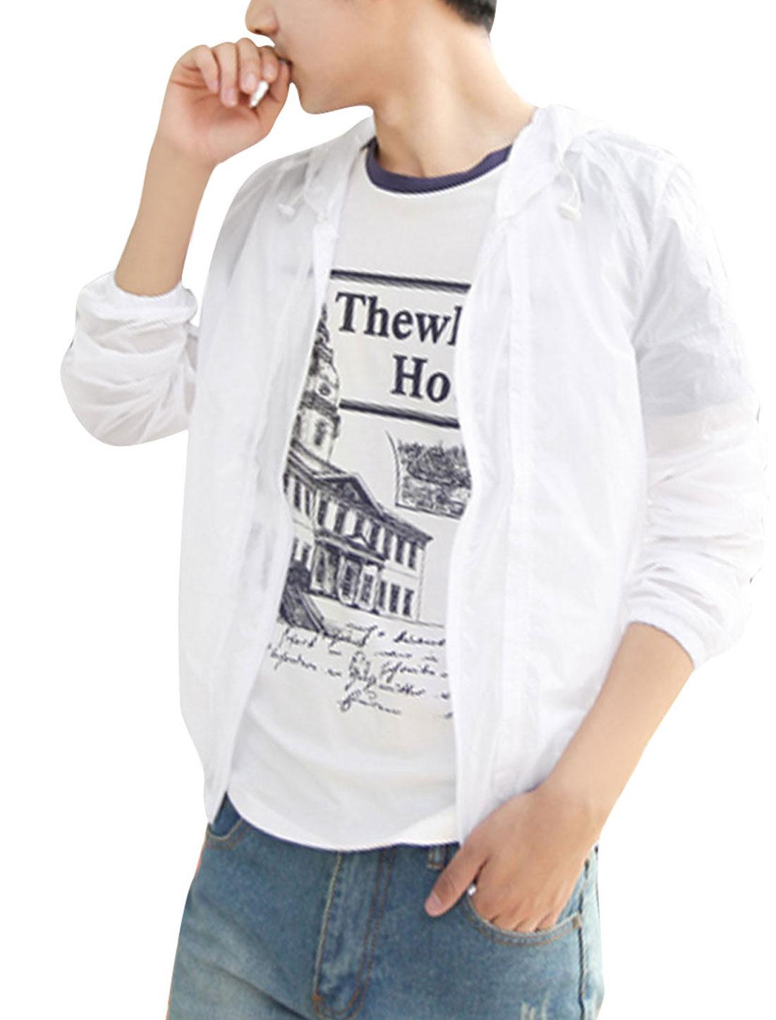Men Ribbed Cuff Personalized Zipper Windbreaker Hoody White M