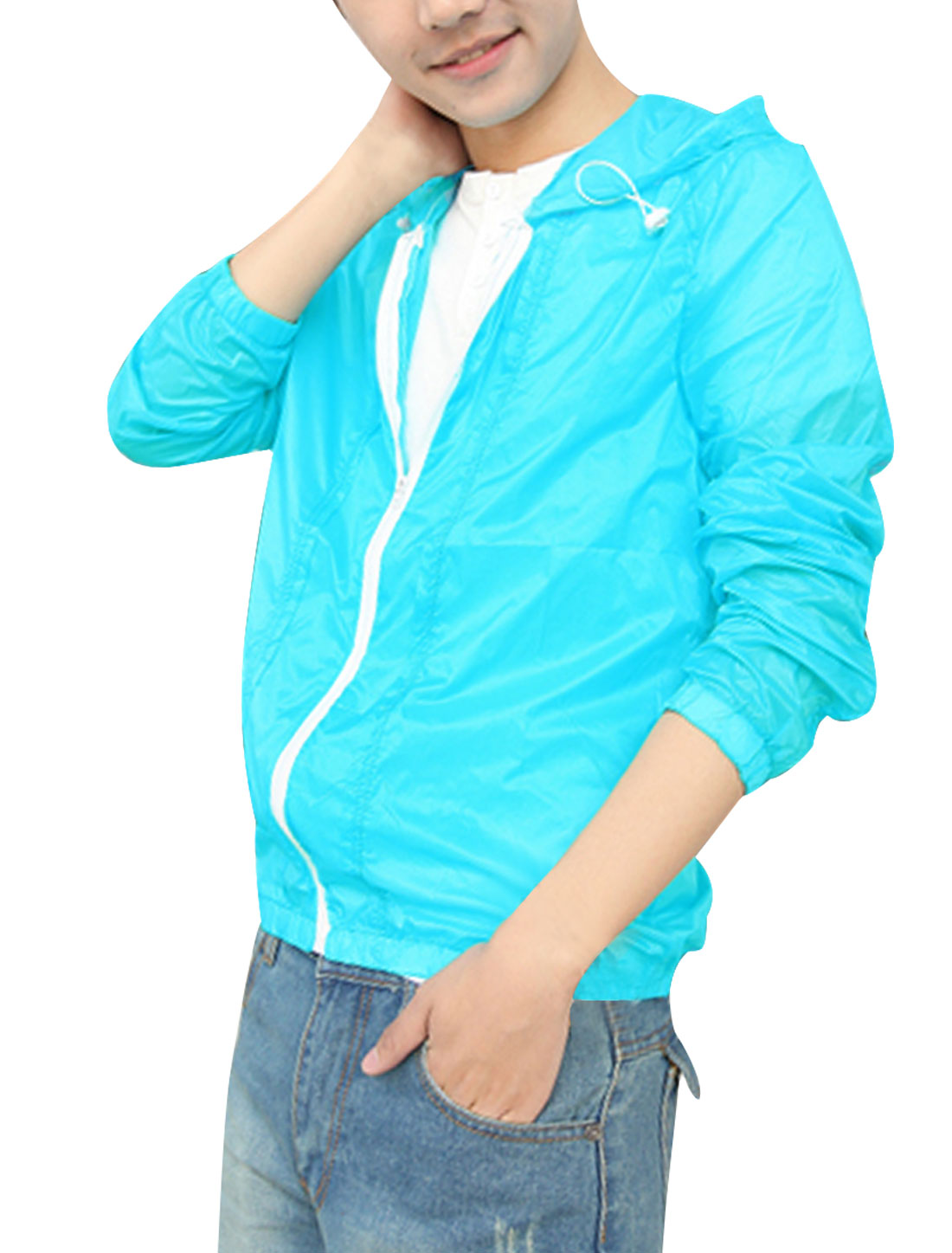 Man Zipper Front Semi Sheer Long Sleeve Leisure Hoodie Sky Blue M
