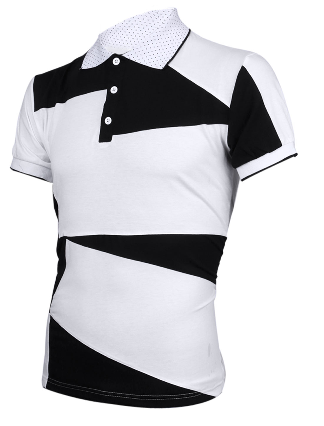 Mens Newly Short Sleeve Contrast Color Splice Summer White Polo Shirt M