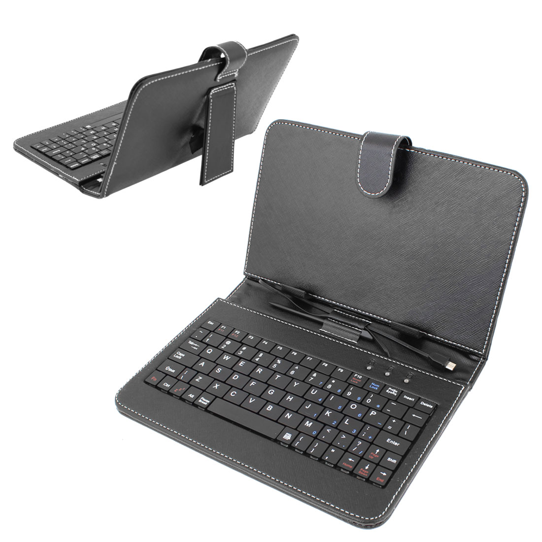 "Black 7"" Faux Leather Keyboard Case Cover for Cobalt Android Tablet PC"
