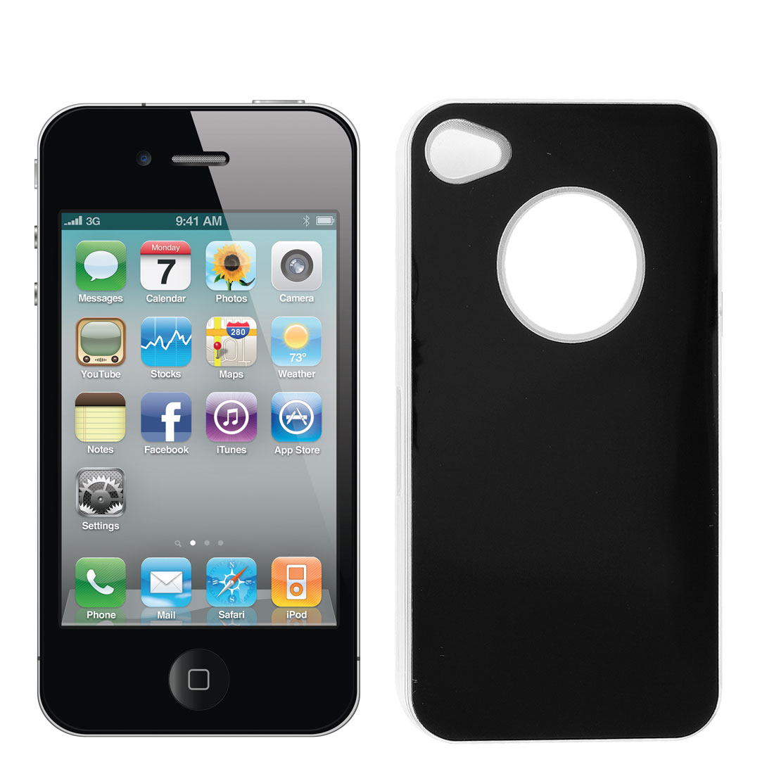 Sense Flash Light Color Changed Hard Back Case Cover Black for iPhone 4G 4S