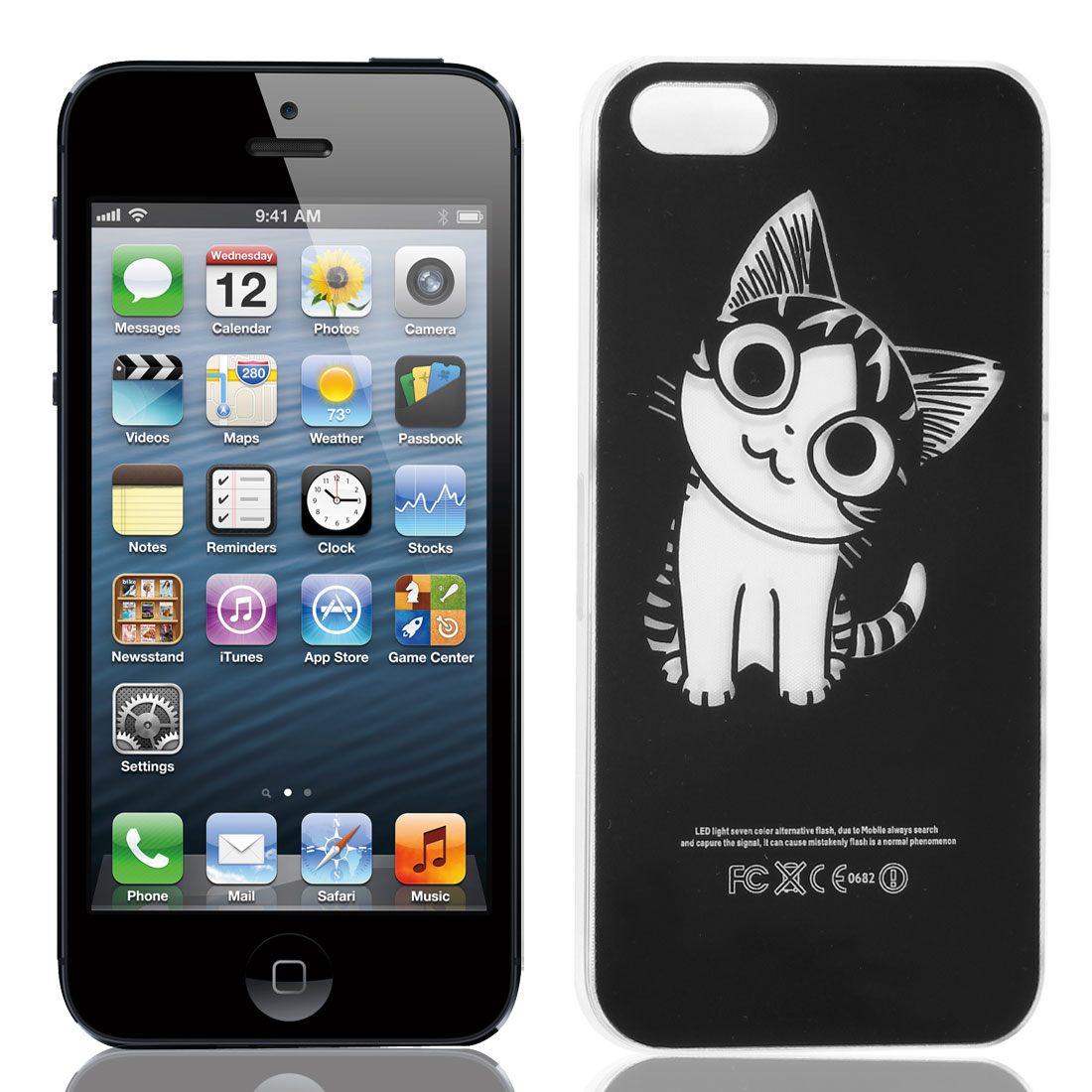 Cat Style Flasher LED Color Changed Protector Case Black for iPhone 5 5G