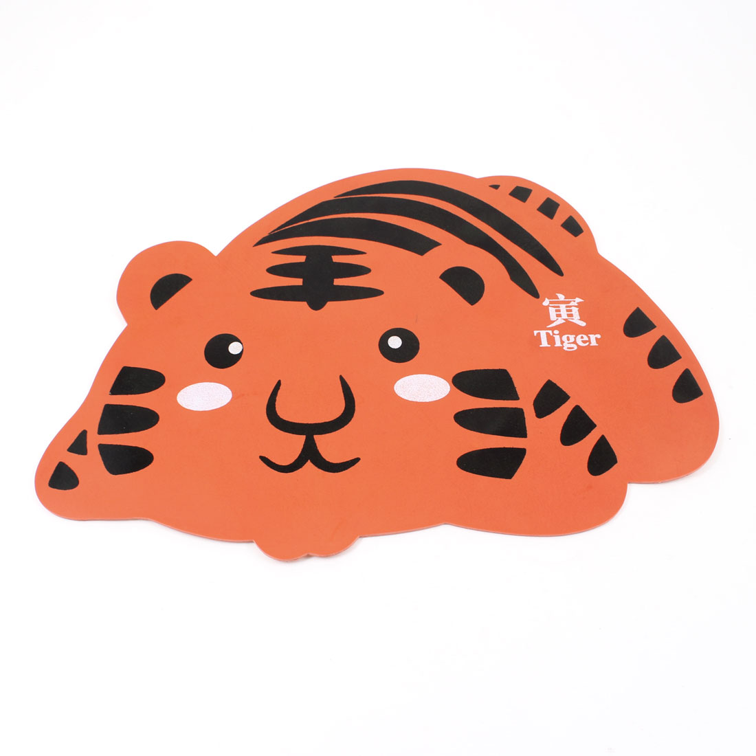 Desktop Chinese Zodiac Cartoon Tiger Design Rubber Mouse Pad Mat Black Orange
