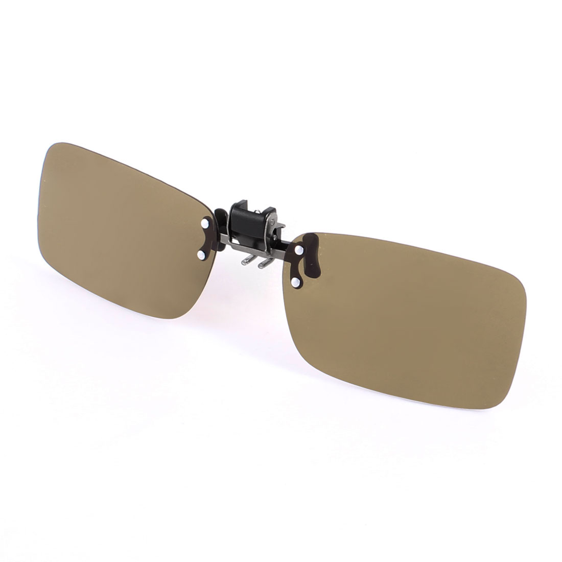 Outdoors Sports Leisure Rimless Brown Lens Clip on Polarized Sunglasses