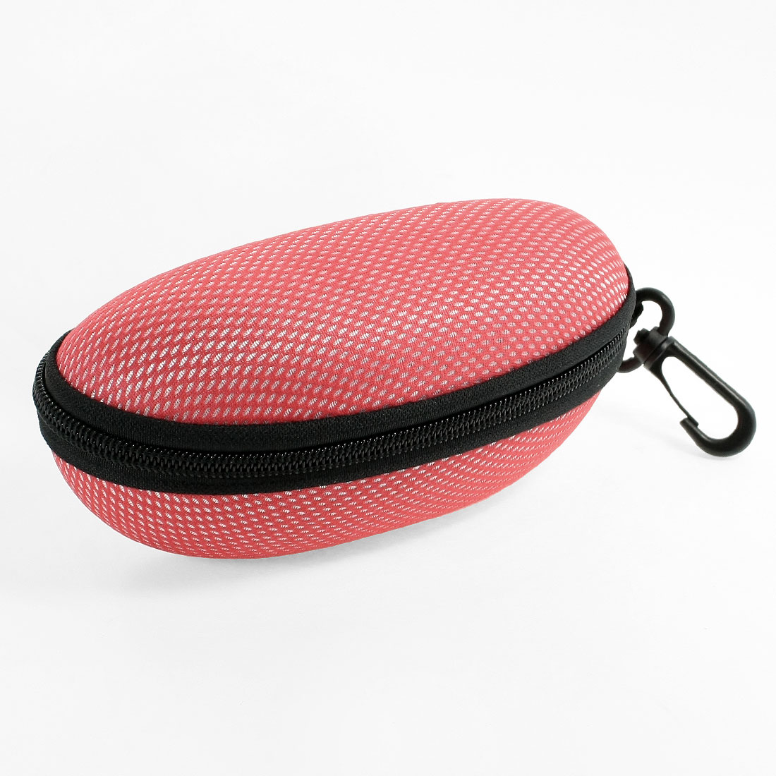 Spring Hook Design Zipper Closure Eyeglasses Case Box Holder Black Red