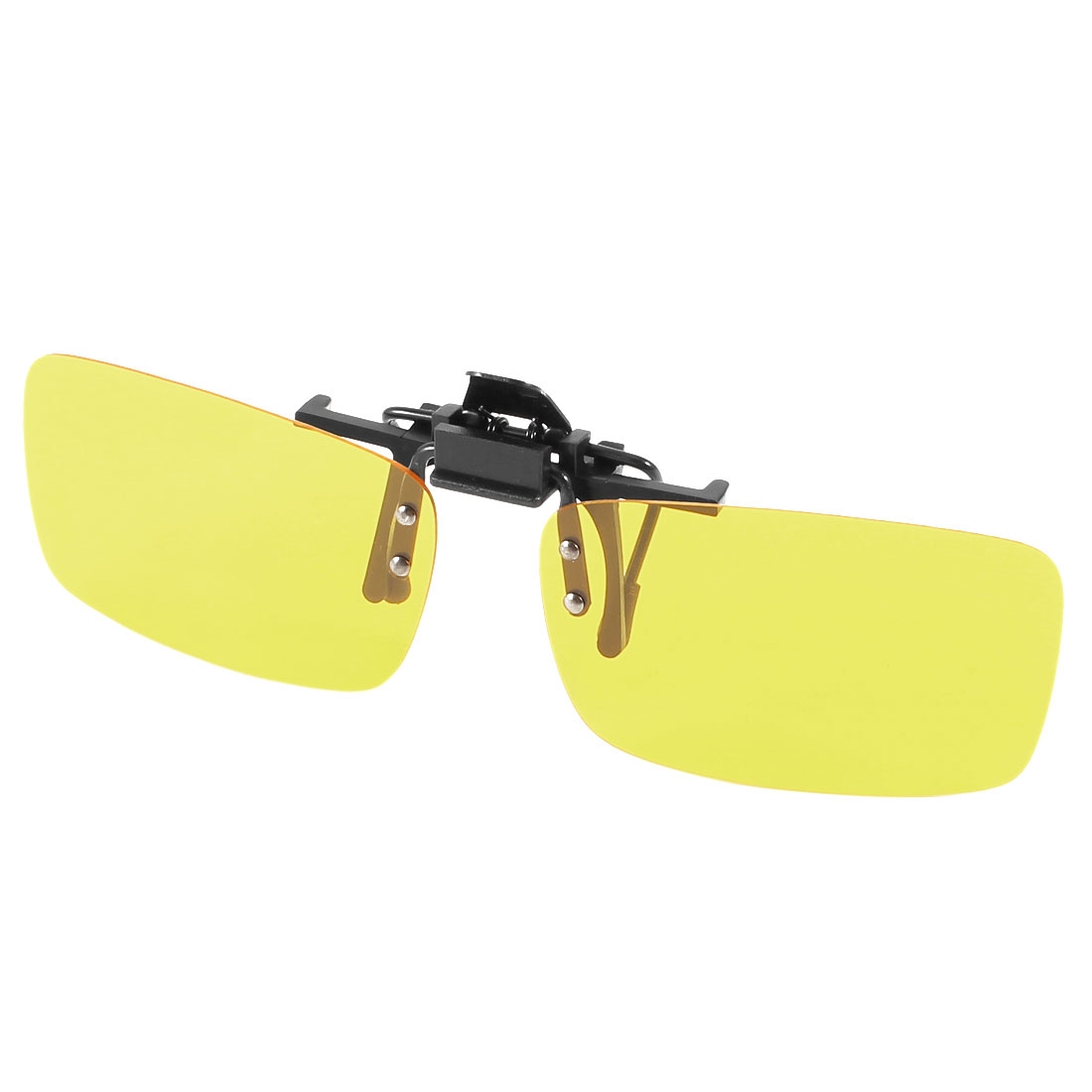 Unisex Clear Yellow Rectangle Lens Rectangle Flip Up Driving Clip On Polarized Sunglasses