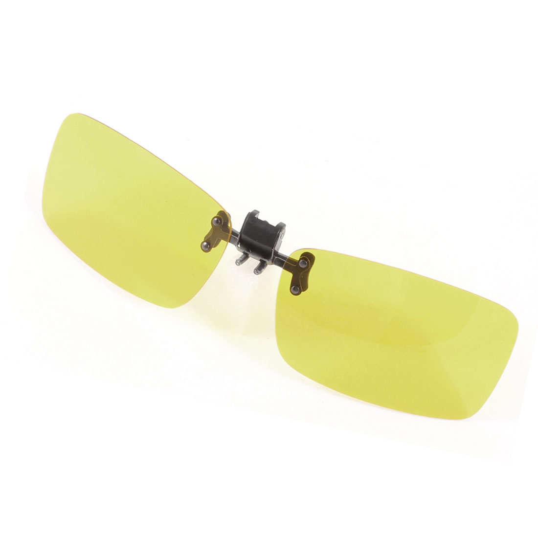 Unisex Rectangle Clear Yellow Lens Rimless Clip on Polarized Sunglasses