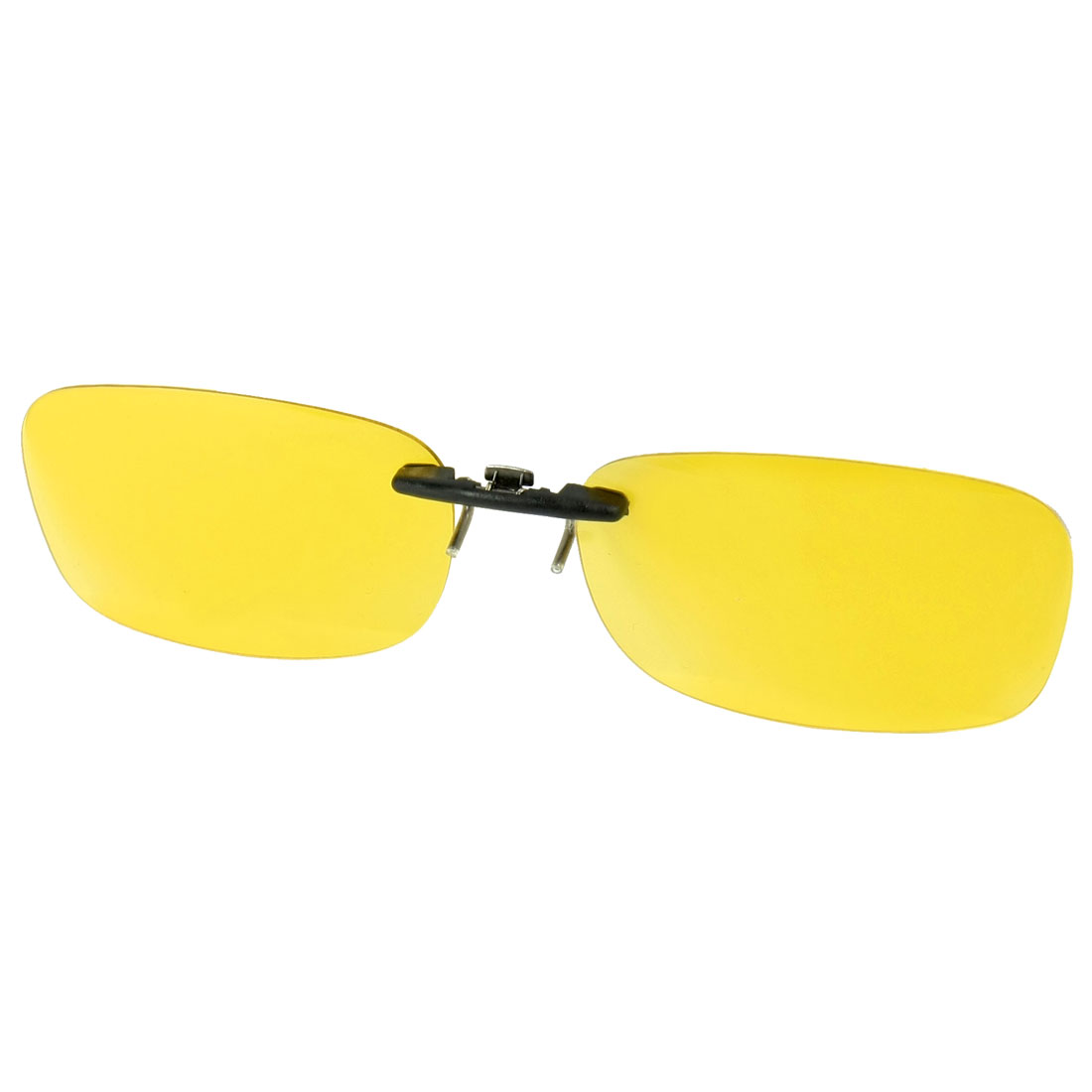 Unisex Clear Yellow Rimless Polarized Lens Clip on Sunglasses