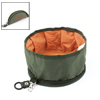 Travel Foldable Protable Arm Green Orange Zippered Pet Dog Cat Food Bowl