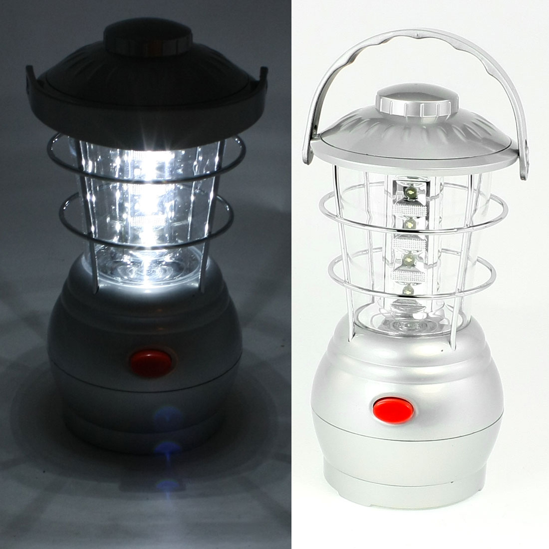 Silver Tone Plastic Housing 16 LEDs White Light Camping Bivouac Lamp Lantern