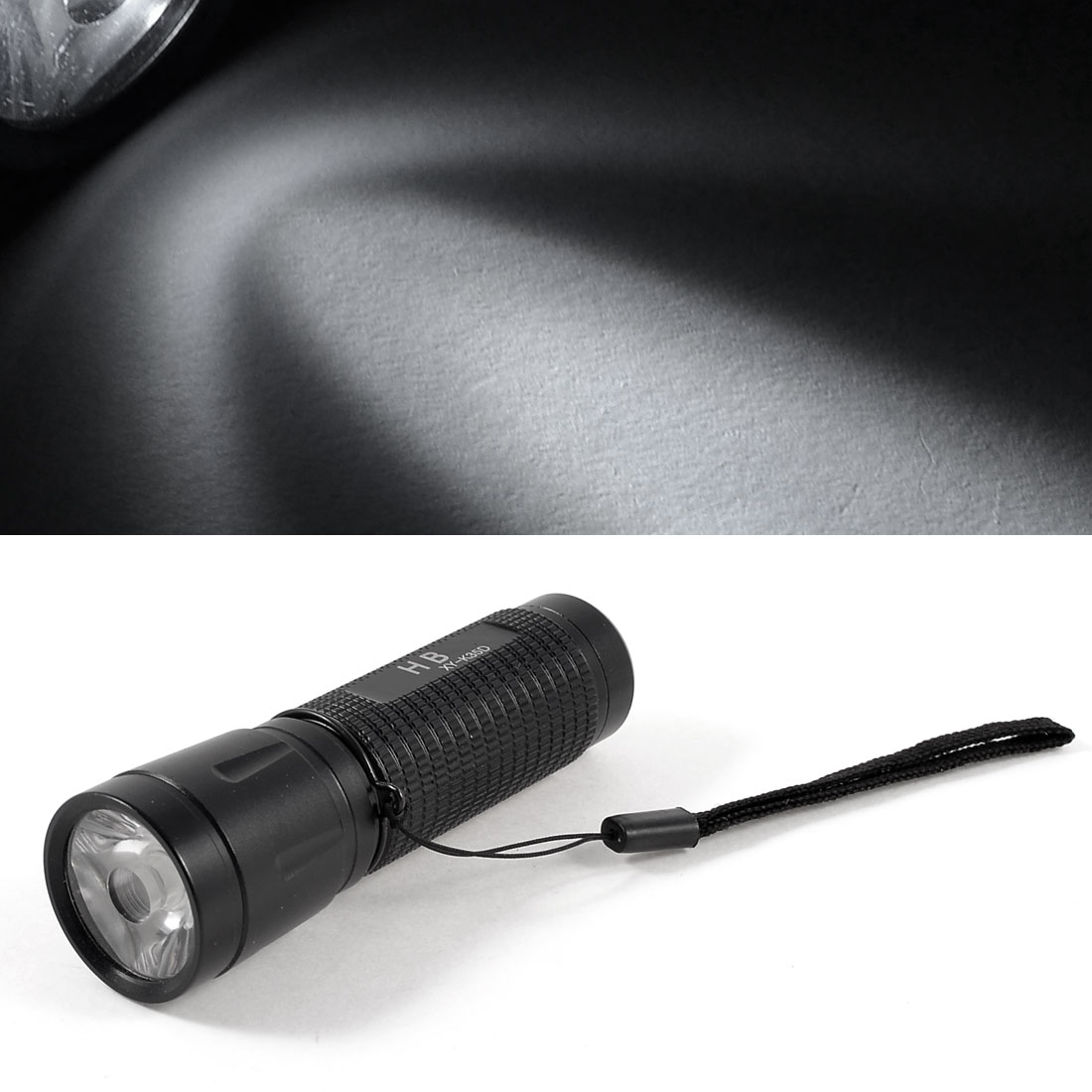 Black Aluminum Shell White Light LED Bulb Camp Flashlight Torch w Strap
