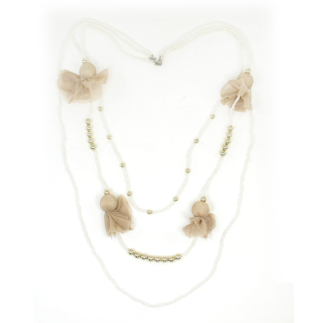 Lady White Plastic Bead Linked Gold Tone Beads Detail Necklace