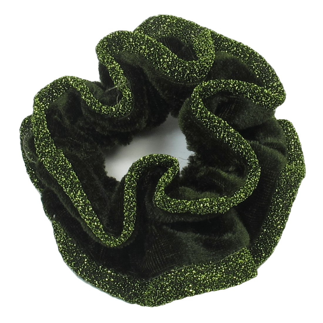 Lady Hair Style Green Velvet Warpped Floral Elastic Hair Band Ponytail Holder