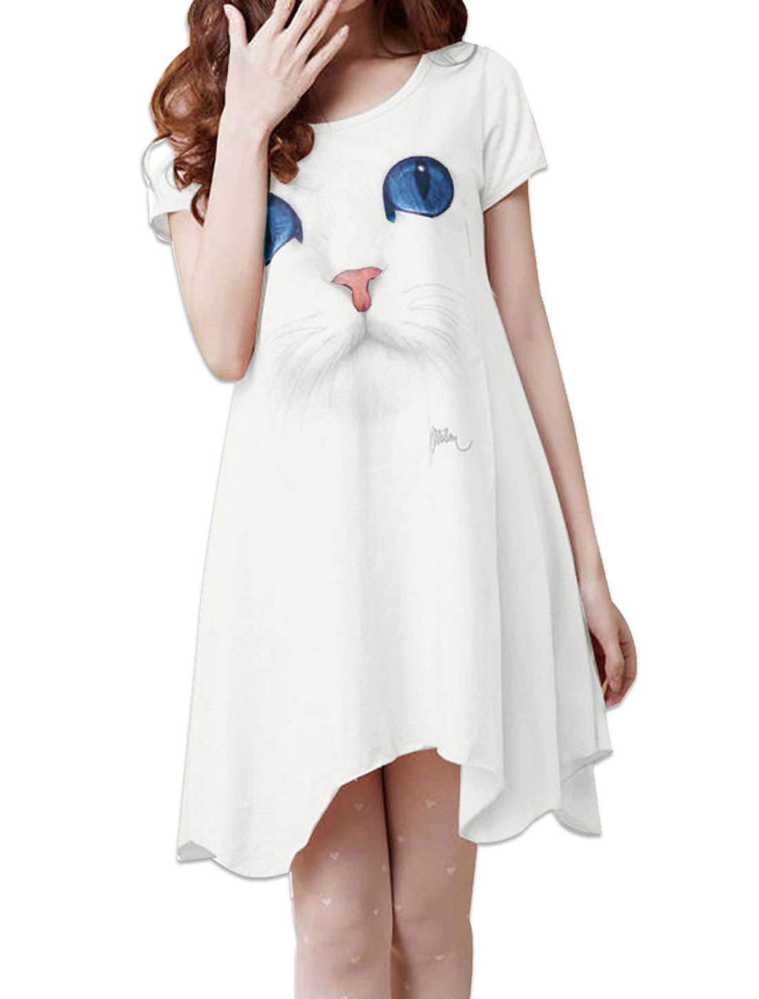 Lady Scoop Neck Short Sleeve Cat Pattern Casual White Mini Dress M