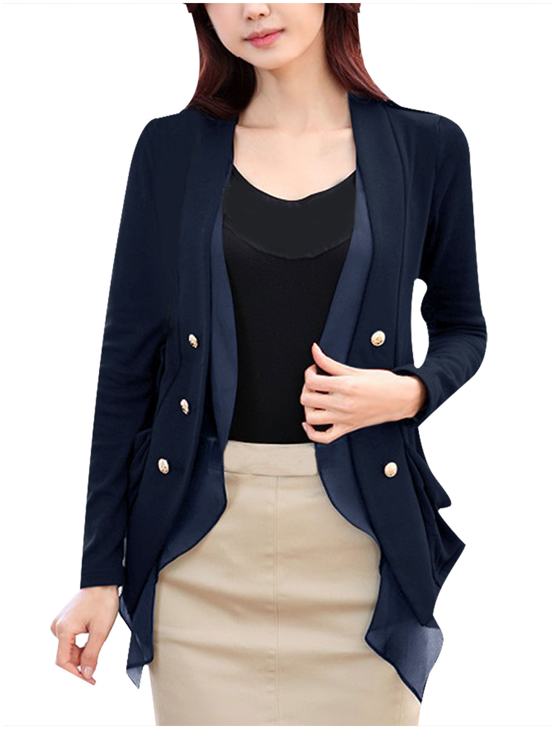 Women Dark Blue Deep V Neck Double Breasted High Low Hem Spring Blazer S