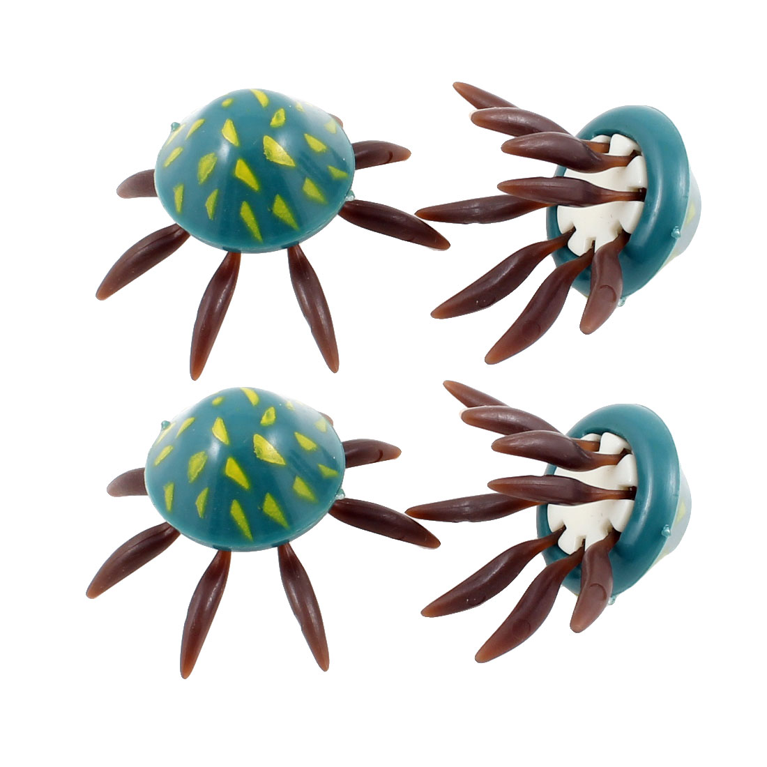 4 Pcs Navy Blue Chocolate Color Aquarium Plastic Artificial Jellyfish Ornamet