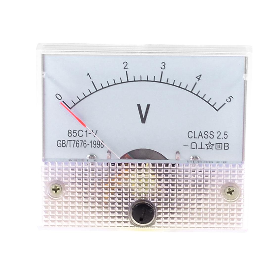 Rectangle Dial Panel Gauge Voltage Voltmeter DC 0-5V 85C1-V