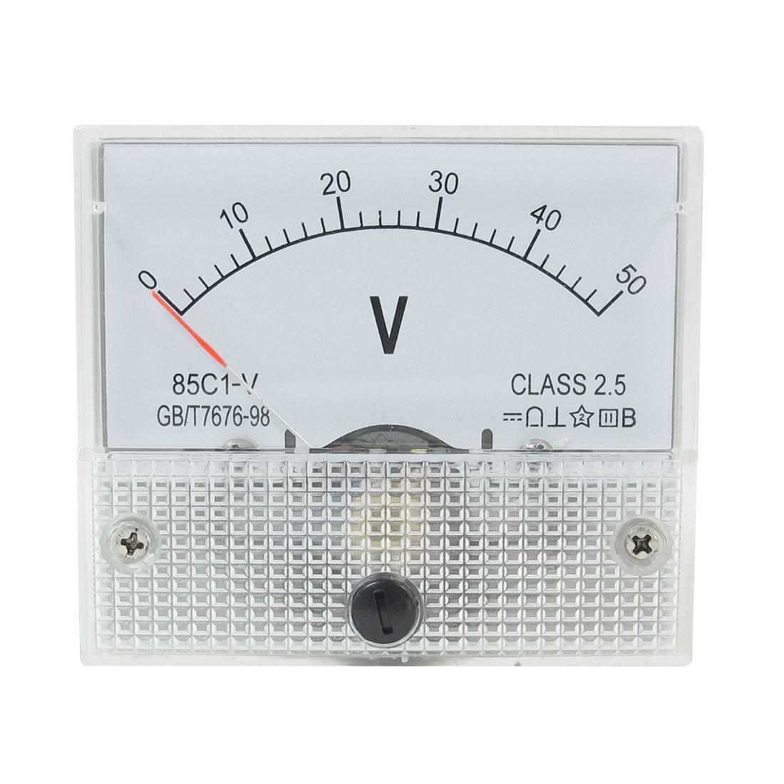 Class 2.5 Accuracy DC 0-50V Panel Gauge Voltmeter Voltage Meter 85C1-V