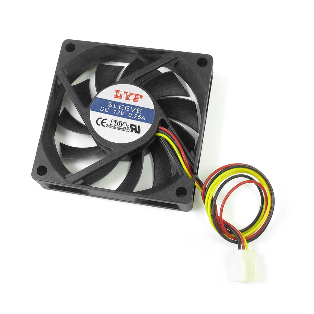 DC 12V 0.25A 6.5cm Dia 3 Pin Cooling Fan Black for Desktop Computer