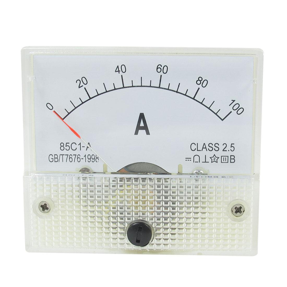 Plastic Housing DC 0-100A Range Analog Panel Meter Amperemeter 85C1-A