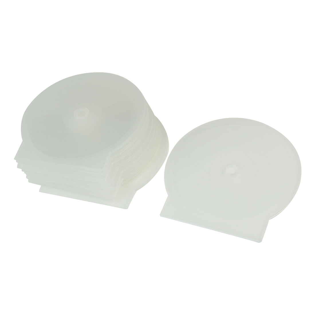 "10 Pcs Round Design Cases Plastic Clear White 4.8"" Diameter DVD CD Box Holder"