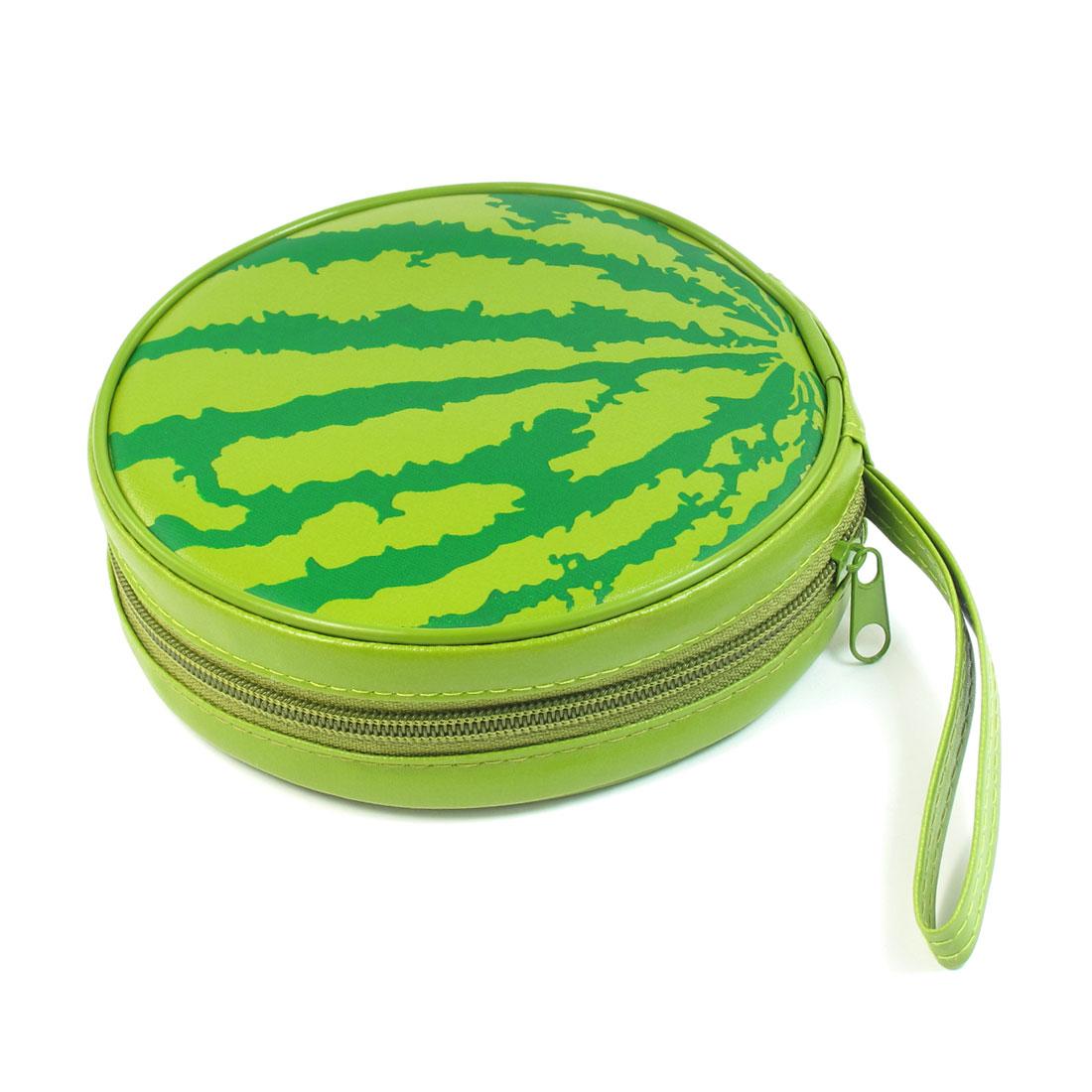 Green Watermelon Pattern 24 Capacity CD DVD Round Wallet Case Holder
