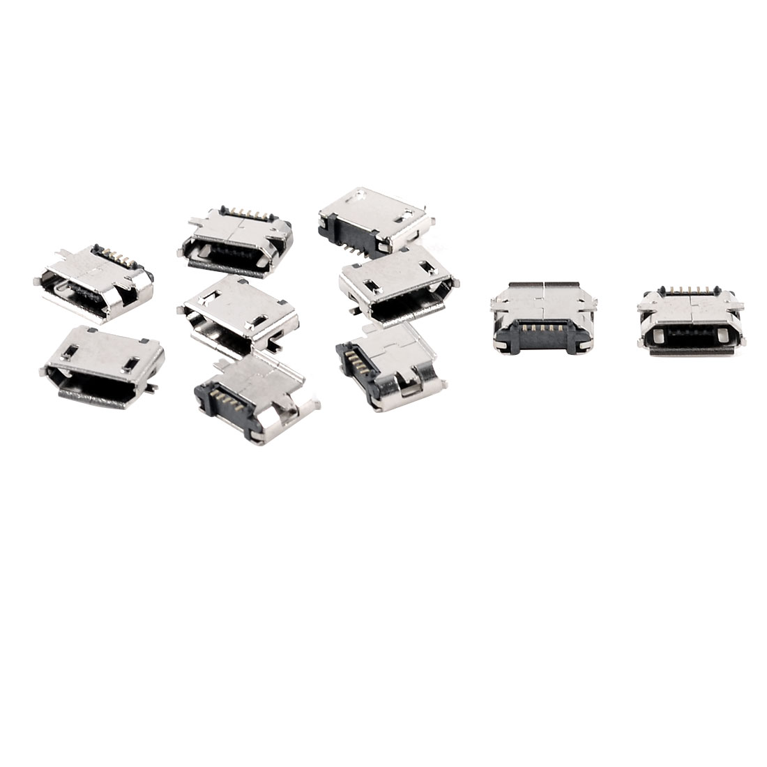 Office Metal Micro USB Female SMD Mount Type PCB Jack Silver Tone 10pcs