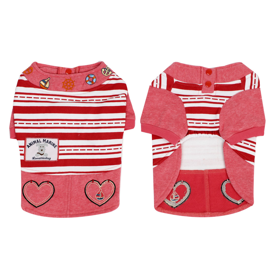 Winter Warm Stripe Print Apparel Clothing Pet Cat Dog Dress Pink XL