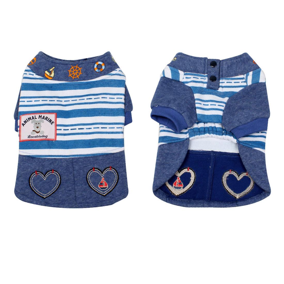 Heart Shape Embroidery Pet Cat Doggie Apparel Costume Dress Blue Size XL