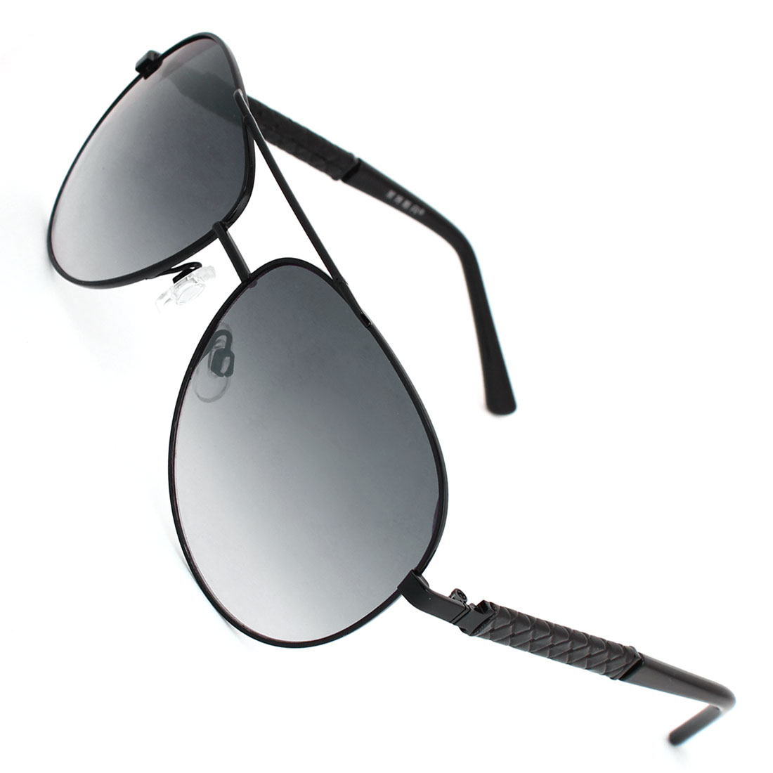 Men Black Faux Leather Coated Arms Gradient Colored Lens Portective Sunglasses