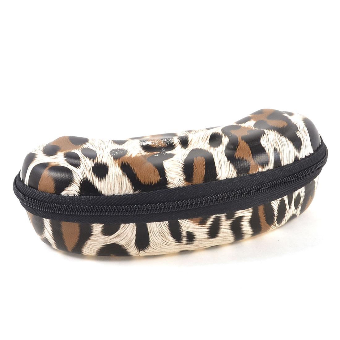 Black Lining Faux Leather Leopard Pattern Zipper Closure Eyeglasses Case