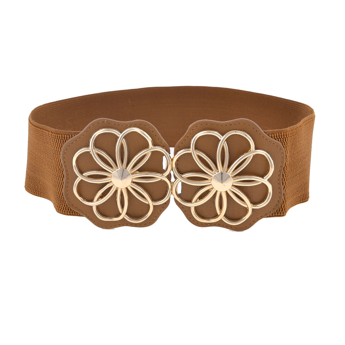 Woman Dual Flowers Interlock Buckle Brown Faux Leather Stretchy Waist Belt 7.5CM Wide