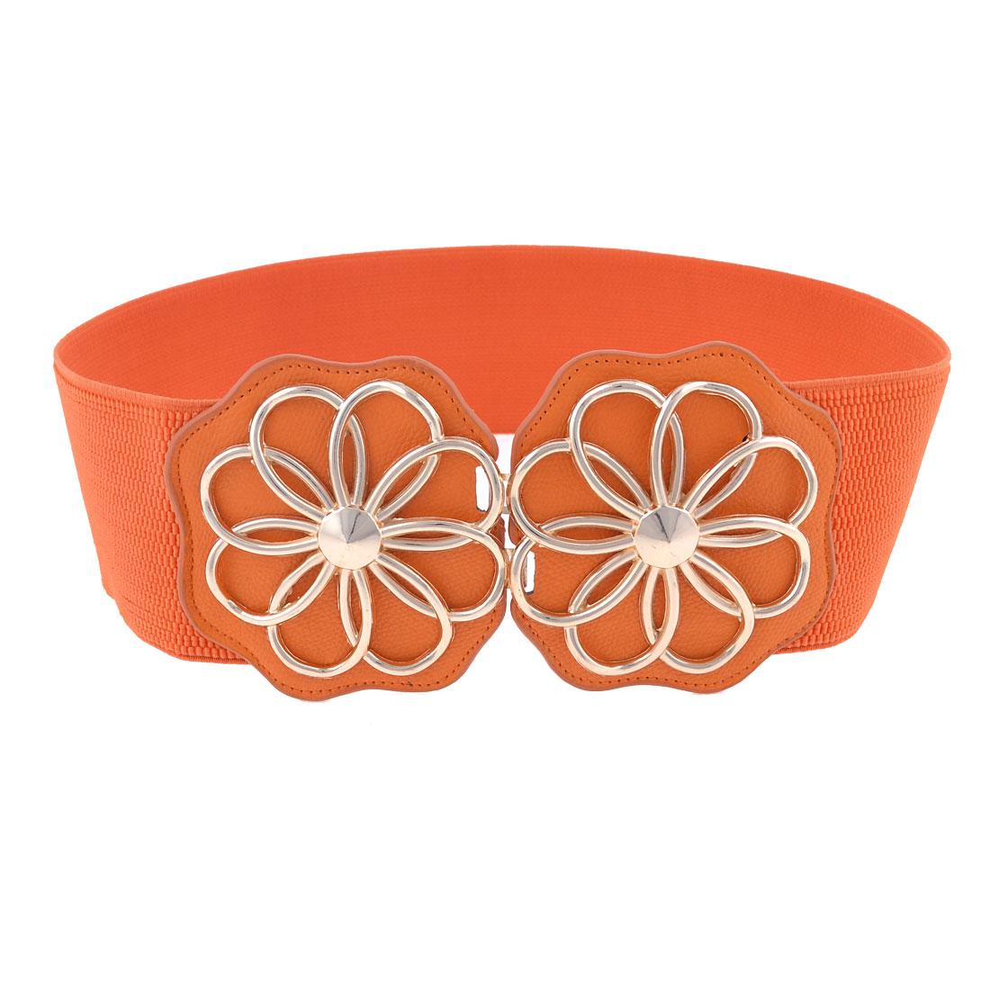 Women Double Flowers Interlocking Buckle Stretch Waistband Cinch Belt Orange